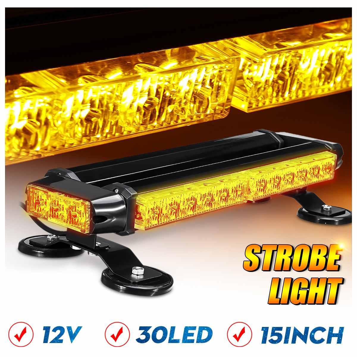 """43/"""" Warning Emergency LED Double Side Flashing Strobe Light Bar Amber For Trucks"""