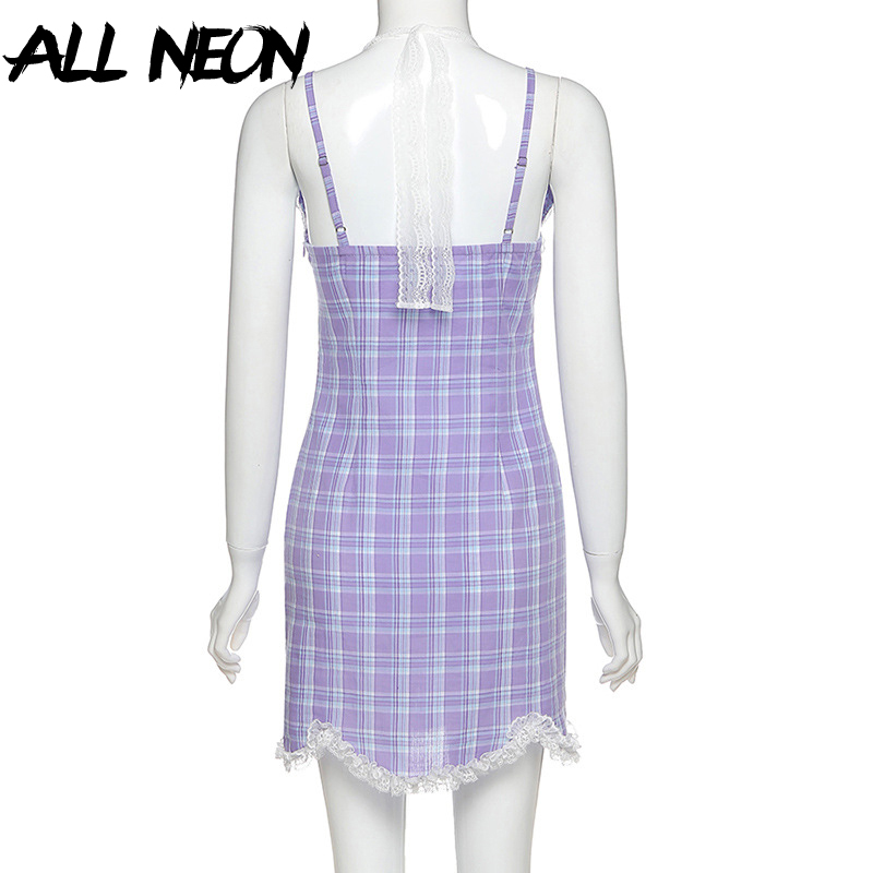 ALLNeon E-girl Plaid Halter V-neck Lace Hem Mini Dress Y2K Fashion Sweet Spaghetti Strap Backless Summer Dress Streetwear Party
