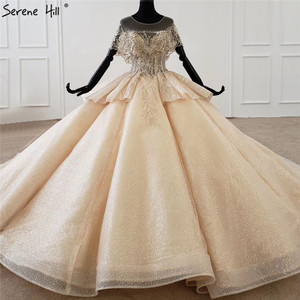 Image 2 - Serene Hill Luxury Dubai Champagne Short Sleeves Wedding Dresses 2020 Sequins Beading High end Bridal Gowns DHX0072 Custom Made