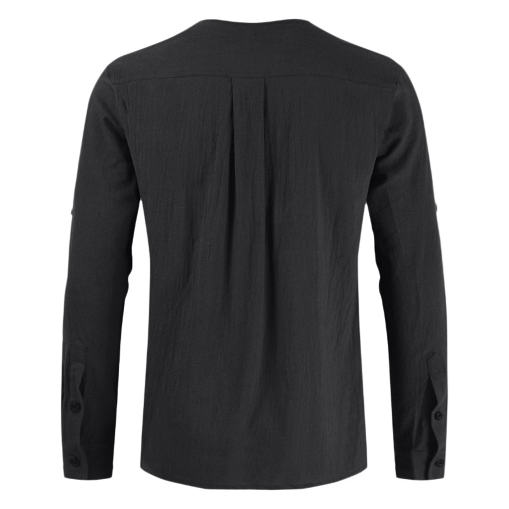 KANCOOLD Simple Men Shirt Long Sleeve Cotton Solid Casual Basic Shirt Men Tops Leisure Fitness Pullovers Dropshipping 725