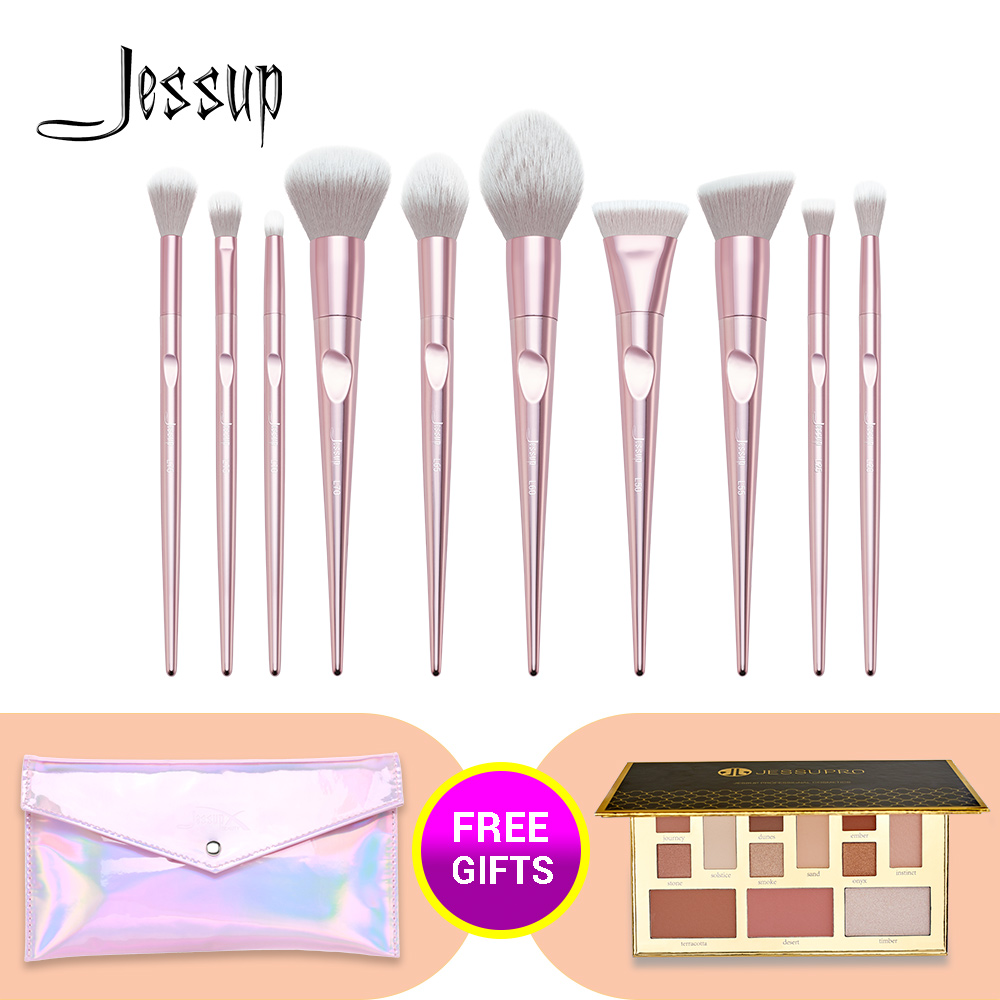 Jessup 10pcs Makeup Brushes Set Powder Brush Foundation Eyeshadow Pallete With Cosmetic Bag