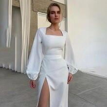 Bodycon vestido de moda gola quadrada lado slits temperamento elegante vestido sexy magro temperamento manga longa saia feminina vestido