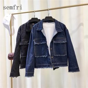 Image 2 - Semfri Jacket Women Winter Denim Jacket High Quality Loose chaqueta mujer 2019 Streetwear All match Mental Covered Button Coat