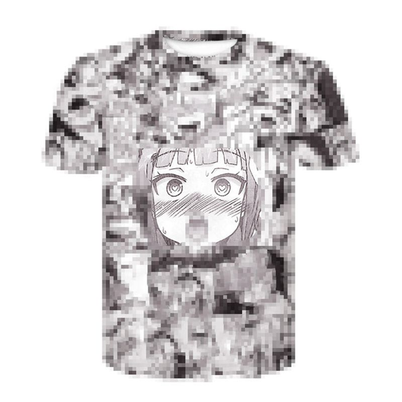 Summer 2019 Newest Anime Tops Short Sleeved Fashion Ahegao T-shirt Hip Hop Casual T-shirts For Men And Women Funny T Shirts