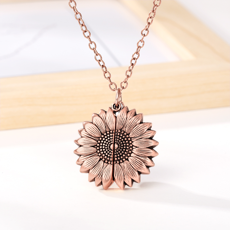 Ha2aeafa05ba94e06a167085766273b70i - You Are My Sunshine Sunflower Necklaces For Women Rose Gold Silver Color Long Chain Sun Flower Pendant Necklace Fashion Jewelry