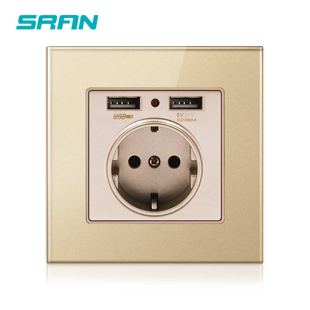 SRAN norma ue ścienne elektryczne gniazdo zasilania z dwoma portami usb czarny/biały/złoty kryształ szklany Panel oprawa gniazdka elektrycznego
