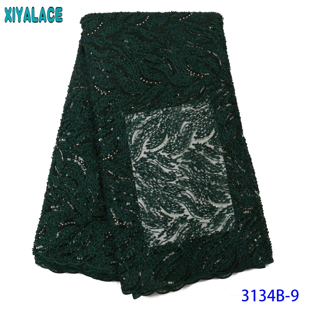 Nigerian Lace Material High Quality Sequins Laces African Fabric Lace Bridal Lace Fabric With Stones KS3134B