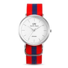 QW Sports Relojes Minimalist British Style Nylon Band Wristwatches Custom Logo Watch Womens Quartz Luxury OEM Watches