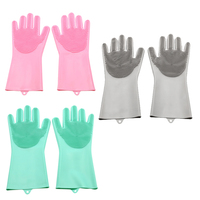 Reusable Silicone Dishwashing Gloves  Wash Cleaning Gloves with Sponge Scrubbers for Washing Kitchen  Bathroom  Car and More 3 P|Household Gloves| |  -