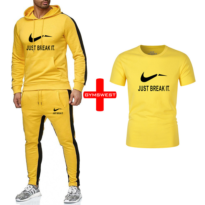 Men Sets Hoodies Sportswear Tops and Pants+Tshirts sets men track suits 2019 Casual Solid 3 piece Suit Sweat suit male clothes