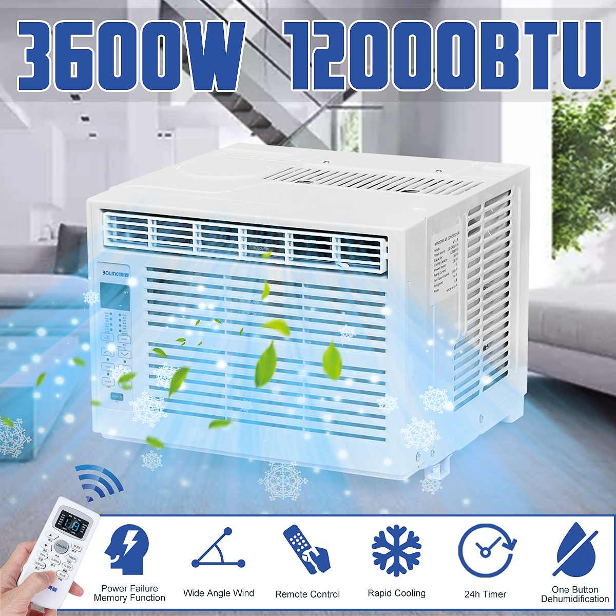 Desktop Air Conditioner 3600W AC220-240V24-hour Timer Cold Use With Remote Control LED Control Panel 12000BTU Pet Air Conditione