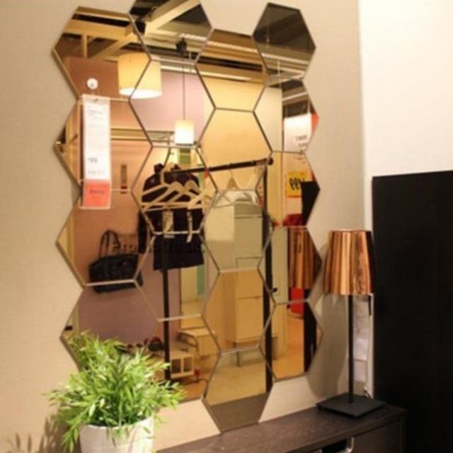 3D Hexagon Acrylic Mirror Wall Stickers DIY Art Wall Decor Stickers Living Room Mirrored Sticker Gold Home Decor 5