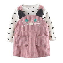 Комплект одежды из 2 предметов; сезон осень-зима; топы с длинными рукавами и рисунком кота для маленьких девочек; платье на подтяжках; комплекты одежды;# BL2