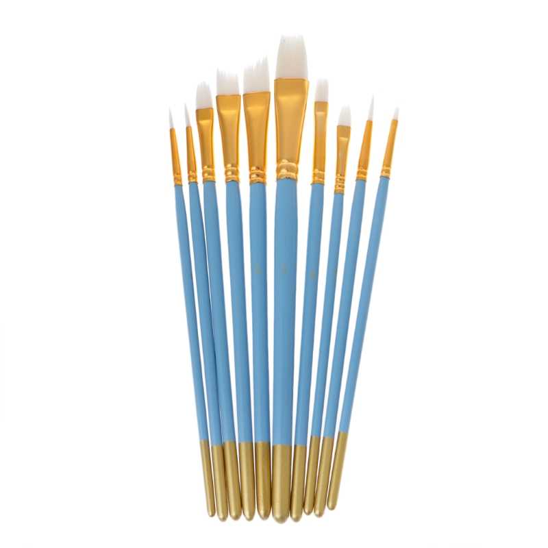 10Pcs Blu Olio Gouache Pittura Ad Acquerello Unghie Artistiche Penna Bianca di Nylon Dei Capelli Spazzole N1HF