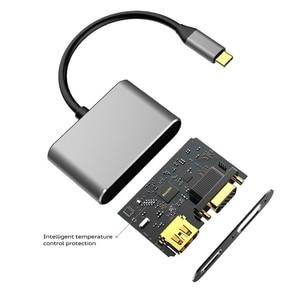Type-C к HDMI VGA видео адаптер для ПК дисплей ТВ Многофункциональный терминал USB 3,1 конвертер аудио 4K Поддержка передачи данных