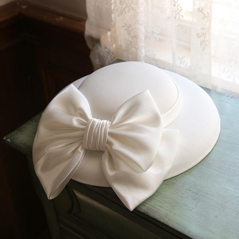 White Satin Elegant Bow Wedding Hat Bride Bowler Hat Simple Mori Ladies Hat