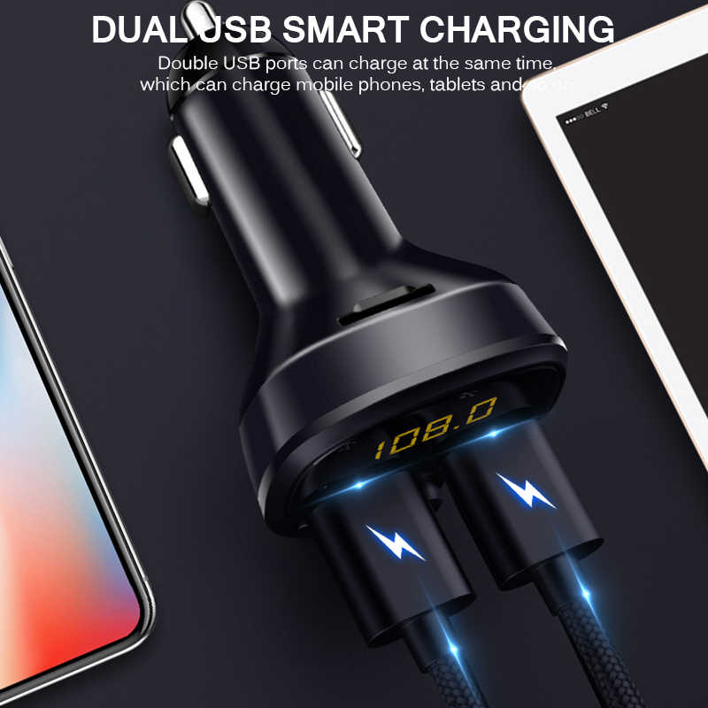 2 Port USB Adaptor Charger Mobil Bluetooth MP3 Pemain dengan U Disk & Kartu TF Musik Menampilkan Mobil Kit Digital layar Bluetooth Mp3