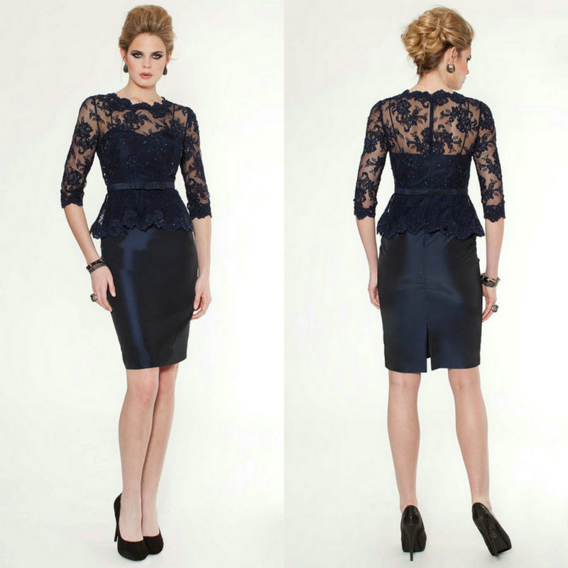 Black 2019 Mother Of The Bride Dresses Sheath Half Sleeves Appliques Beaded Plus Size Groom Short Mother Dresses For Wedding