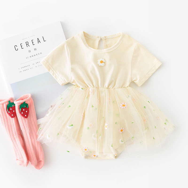 3622 Newborn Baby One Piece Lovely Embroidery Chrysanthemum Yarn Skirt Romper For Girls 100 Days Party Clothing