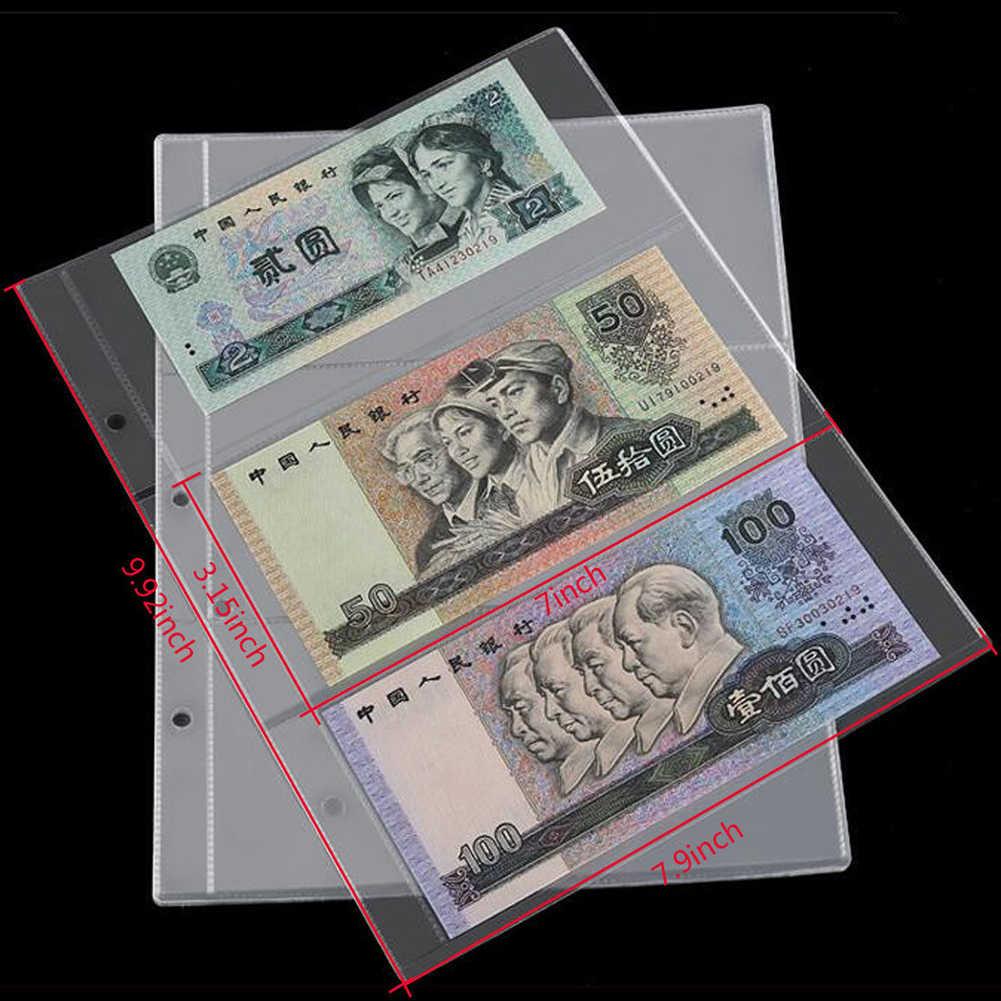 חם למכור 10Pcs כסף שטר גלרית דף איסוף מחזיק שרוולים 3-חריץ רופף עלה גיליון כסף אלבום הגנה