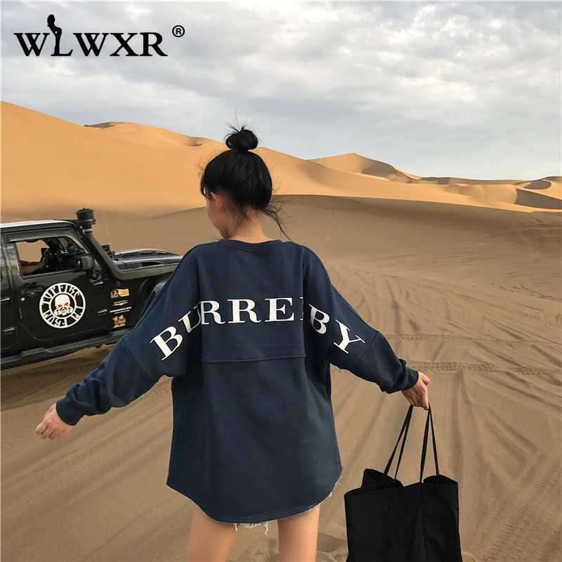 WLWXR Casual สีขาวขนาดใหญ่ Hoodie ชุดเสื้อผู้หญิงเสื้อพิมพ์หลวมยาวเสื้อ Hoodie สุภาพสตรี Pullover หญิง