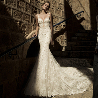 Vestido de novia playa2019 new lace pearl backless sexy mermaid ivory wedding gowns ball gowns trailing gothic wedding dress