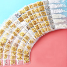 1Bag Gold Silver Hollow 3D Nail Art Decorations Mix Metal Frame Nail Rivets Shiny Charm Strass Manicure Accessories Studs(China)