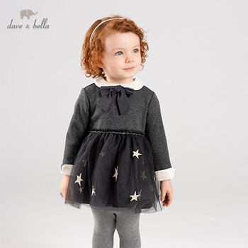 DB11751 dave bella winter baby girl's princess cute bow stars dress children fashion party dress kids infant lolita clothes image