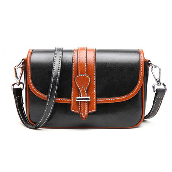 Leather women's bag 2020 new fashion luxury single shoulder bag personality small black bag Crossbody contrast small square bag