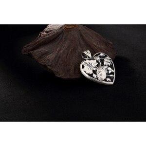 Image 4 - Sterling Silber 990 Anhänger Herz Geformt Fisch Und Lotus Carving Personalisierte Halsketten & Anhänger Geschenke Für Frauen Edlen Schmuck