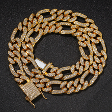 Hip Iced Out Bling Mens Necklace Gold Silver Color Choker Micro Pave Crystal Rhinestone Figaro Cuban Chain Jewelry