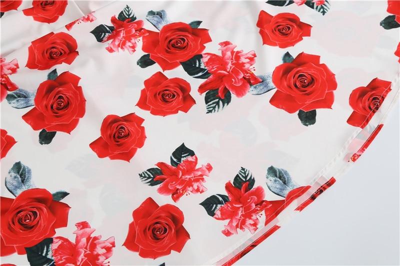 Summer Floral Print Elegant A-line Party Dress Women Slim White Short Sleeve Swing Pin up Vintage Dresses Plus Size Robe Femme 71