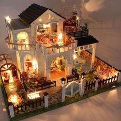 DIY Creative Handmade Theme Wooden Cabin Assembly Building Doll House Model Toy Set With Light And Music - Happy Together