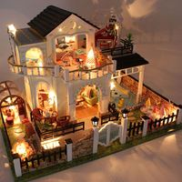 DIY Creative Handmade Theme Wooden Cabin Assembly Building Doll House Model Toy Set With Light And Music Happy Together