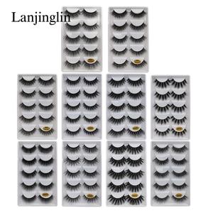 Image 2 - LANJINGLIN – Faux cils en vison naturel, effet 3D, 5 paires, 10/100 boîtes, extensions longues, vente en volume