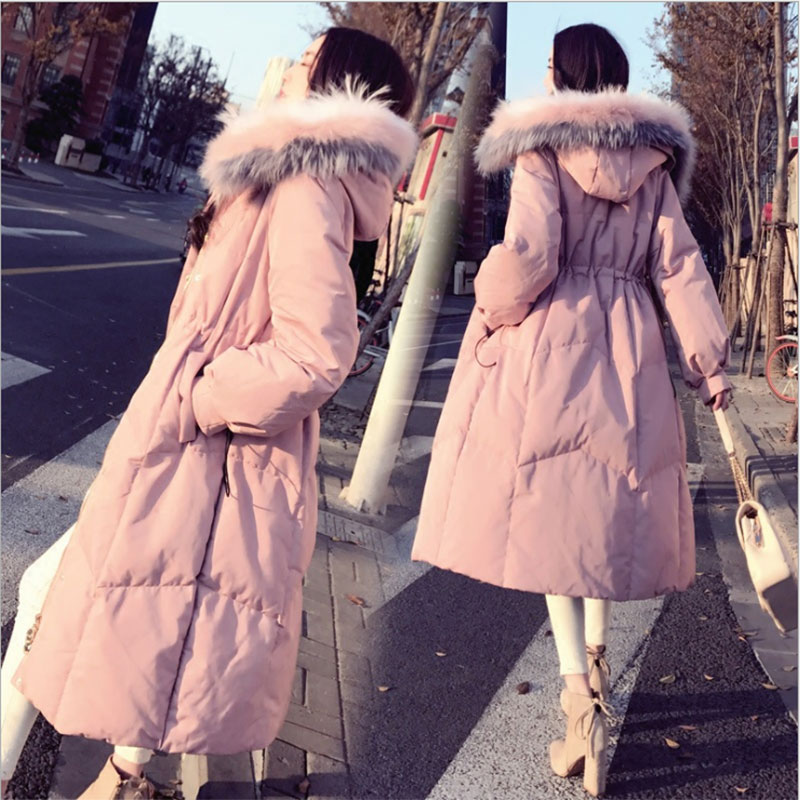 Diwish Winter Raccoon Fur Hooded Long Women's   Down   Jacket 2019 Korean Black Pink Thick Warm Slim Feather   Coat   Ladies Outwear