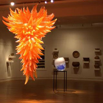 Lustre de Murano en verre soufflé à la main Orange de grande taille 1 pièce