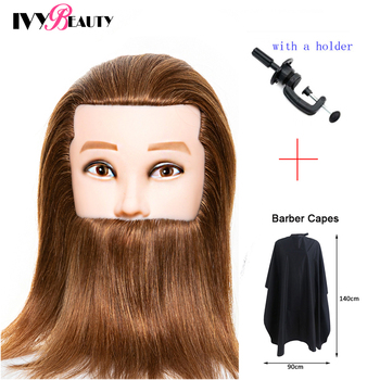 Male Mannequin Head With Beard 100% Real Human Hair Hairdressing Practice Training Head Manikin Doll Head For Hairdressers 100% real human hair head dolls for hairdressers 16 brown training head professional mannequin with small clamp can be curled