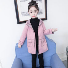 Kids Hooded Wool Coat for Girls Autumn Winter Woolen Overcoat Princess Winter Coats Baby Girls Trench Full Sleeve Clothes 4-13Y