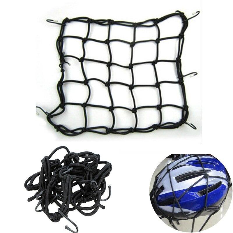 Motorcycle Bike Cargo Net Elastic Luggage Rope Fastened Elastic Cord Fixed Hook 30*30cm Helmet Luggage Net Bag Strap Mesh Ropes