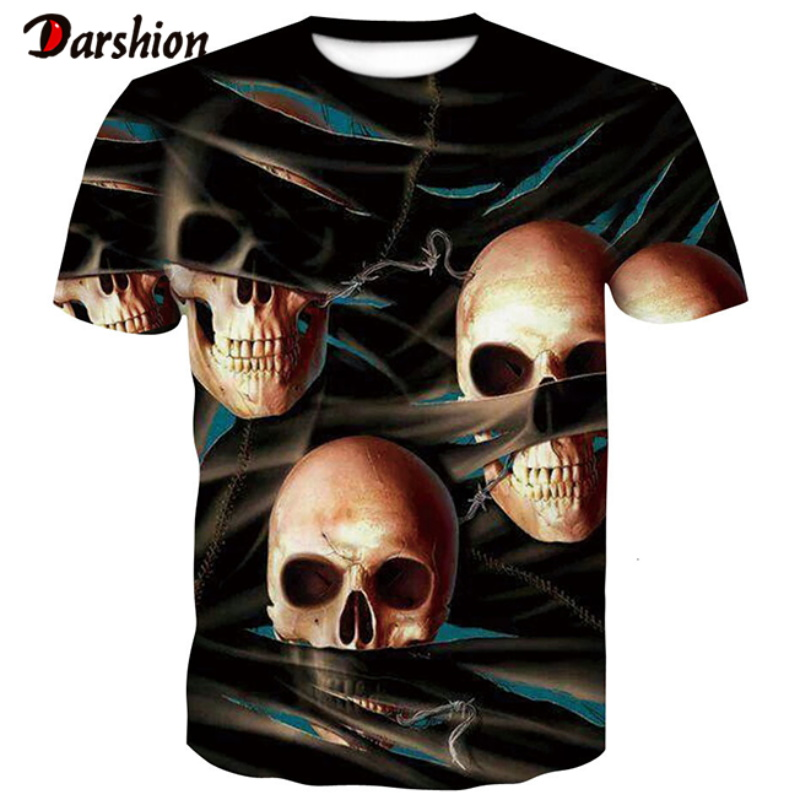Summer T-shirt New Funny Skull 3d O-neck T Shirt Summer Hipster Short Sleeve Tee Tops Men Anime T-Shirts Homme Short Sleeve Tops