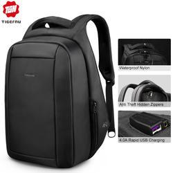 Tigernu Скрытая Anti theft молния 15,6 дюймов Для мужчин школьные рюкзаки ноутбук водоотталкивающая путешествия 20L Multi USB Зарядное устройство мужской