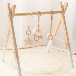 Let's Make Baby Gym Wood Crochet Star Bell Unicorn Beech Wood Teething Toys Play Gym Set Baby Shower Gift Toys For Newborn 1 Set
