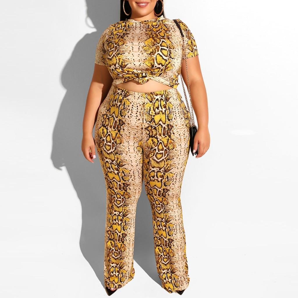 2019 duas peças set conjunto conjunto pedaço set mulheres conjuntos de mujer femenino 2 femme mulheres duas peças Plus Size leopardo Z4