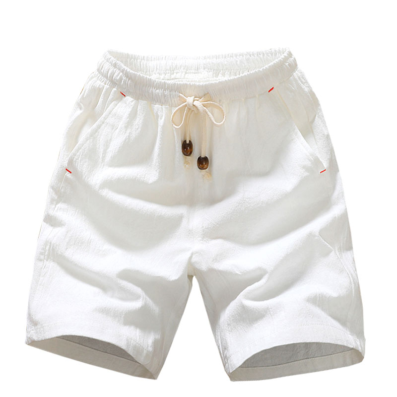2020 Summer New Cotton Shorts Loose Men's Casual Shorts Black White Drawstring Waist LKSXSCL Shorts Fashion casual pants for men