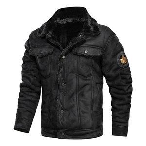 Image 5 - Куртка мужская с отложным воротником, осенне зимняя повседневная модная свободная кожаная куртка, 2020