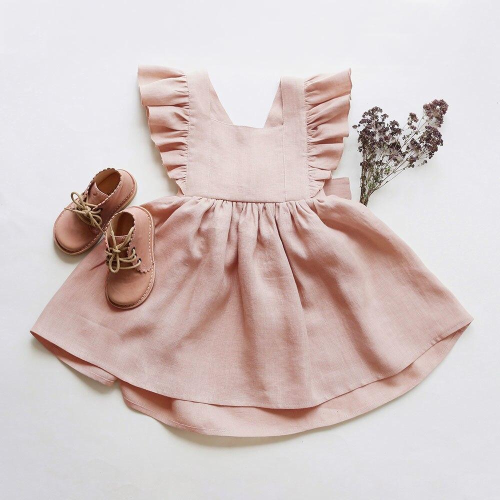 Для маленьких девочек платье От 0 до 6 лет однотонные льняные рукава с оборками; Детские платья для девочек летнее праздничное платье принце...
