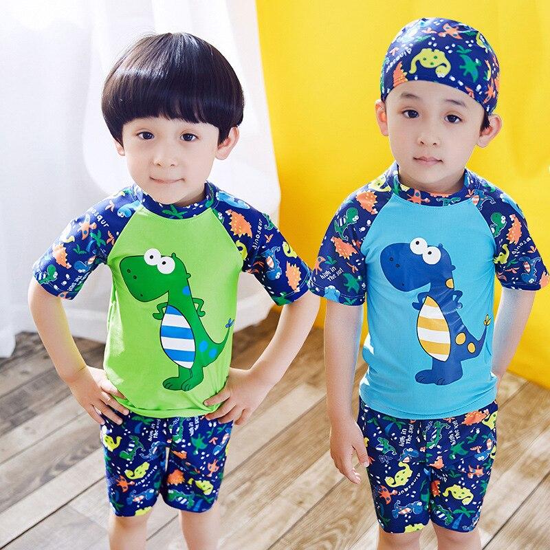 CHILDREN'S Swimwear BOY'S Boy Baby Split Type Boxers Swimwear Dinosaur Hot Springs Swimsuit With Swim Cap
