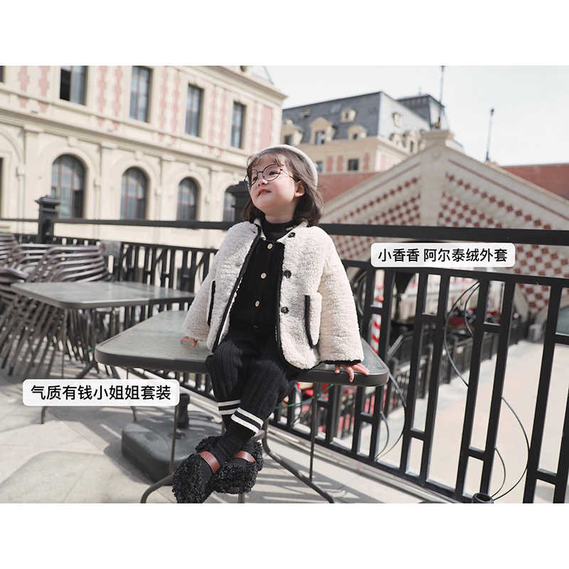 Enfant Girl Winter Warm Coat Chidlre Kids Thicken Wool Lamb Jacket White Color Toddler Girls O neck Coat Outerwear Girl Clothes