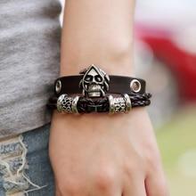 Creative skull leather bracelet  wristband men in charm adjustable Jewellery women jewelry vintage bracelet for student punk